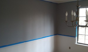 Dining room painted silver