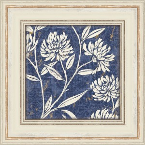 Blue Floral Giclee Print with a Cream Colored Wood Frame